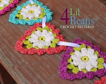 Crochet Pattern: Crochet Flower Triangle Garland, Easter Garland, Easter Decor, Crochet Flower Applique, Home Decor, (Pattern 27) Download