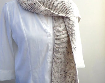 Cream Scarf, Aran Acrylic Knitted Scarf, Hand Knit Scarf, Completed