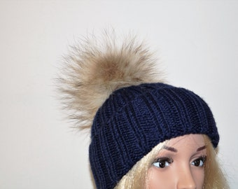 Blue Hat,Winter Hat,Womans Hat , Natural Fur Pom Pom,Hand Knitted Hat,Handmade Cap,Natural Fur,Knitted Cap,Handmade Hat
