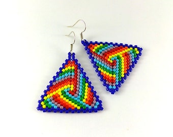 Rainbow Earrings - Rainbow Jewelry - Seed Bead Earrings - Triangle Earrings - Rainbow Dangle Earrings - Rainbow Beaded Earrings - Beadwork