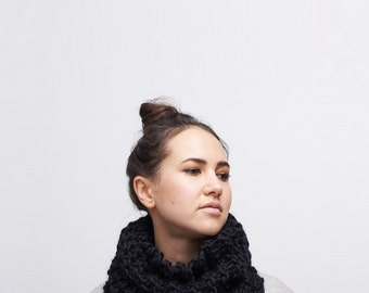 hood scarf . crochet hood scarf . snood scarf . knit hood . hooded scarf . crochet cowl . knit cowl  / The Essential Cowl /  pictured: Black
