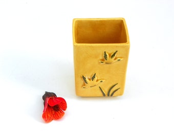 Vintage Tiny Bud Vase, Cigarette Holder, California Pottery Vase Trinket Holder, 60s   Monterey Art Pottery