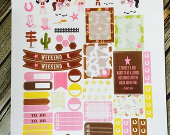 Cowgirl Weekly Planner Stickers Set, for use with Erin Condren Life Planner, Happy Planner