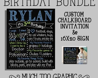 Blue & Green or Custom Color 2nd 3rd 4th Birthday Bundle Chalkboard Sign Photo Invitation Invitations for Party Personalized Printables