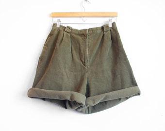 Green Corduroy High Waisted Shorts