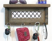 Key Holder In  Home Decor - Rustic Shelf Necklace Display - White Quatrefoil Pattern -  Nice Housewarming Gift