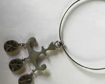 Mid Century Modern Swedish Scandinavian Rune Tennesmed Pewter Anchor Necklace