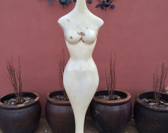 old vintage or antique mannequin white female sculpture art full body MCM mermaid mid century