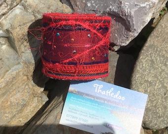 One of a kind, statement wrist cuff, textile art, fibre art, boho accessory, fabric bracelet, textile jewellery, handmade cuff
