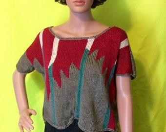 1980s Gray & Maroon Short Sleeve Sweater, M-L