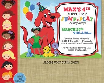 Clifford Birthday Invitation - Big Red Dog Party - Cloe T-Bone Mac Charley printable - Clifford Party Invitation AA African American Girl