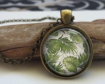 Abstract Geometric tropical Leaves  art pendant . Leaves necklace. Tropical art leaves pendant