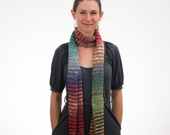 Long Knit Scarf, Multicolored Stripes, Boho Scarf, Rainbow Scarf, Cotton, Silk, Wool - 097