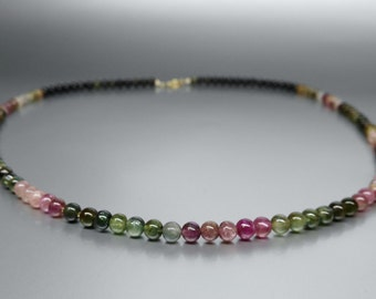 Beaded Watermelon Tourmaline Necklace with 14K gold plated elements - gift idea
