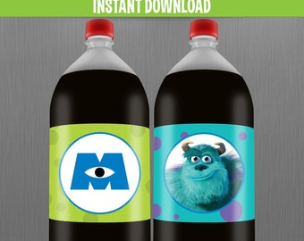 Disney Monsters Inc. 2 Liter Birthday Bottle Labels - Instant Download and print with Adobe Reader