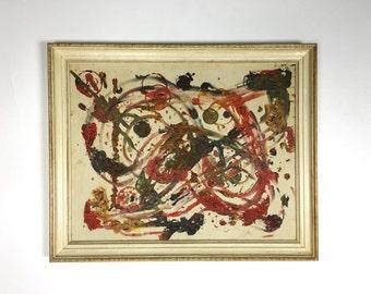 32x26 Vintage Original Abstract Oil Painting Impasto Mid Century Modern Detroit