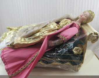 Sleeping Beauty, The Danbury Mint Porcelain Doll in Box with Bed by Judy Belle