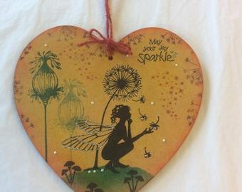 Fairy tale - magical fairy mdf heart