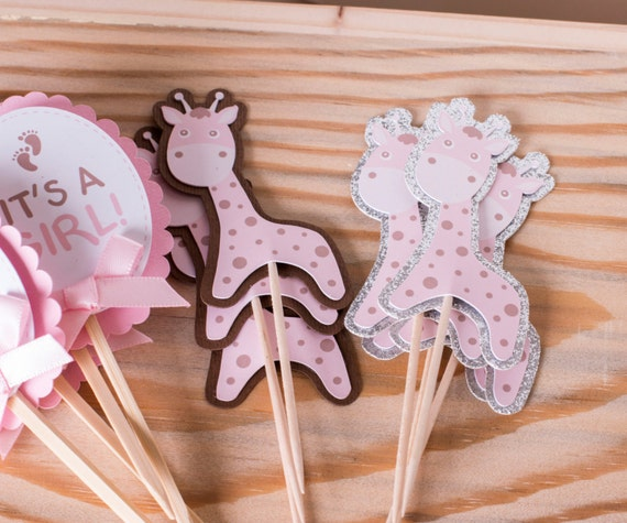 Giraffe Cupcake Toppers Baby Shower Party Decorations Animal Party Zoo Party Jungle Party Decorations - 12CT