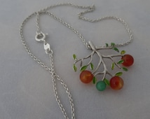 sterling silver necklace, handmade necklace, specia gift, designer jewelery,tree necklace, silver and agates,handmade necklace,