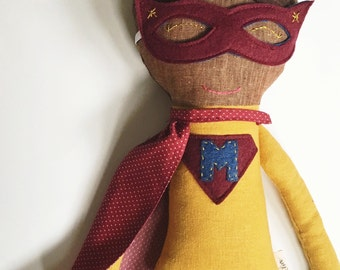 Natural Wool Stuffed Super Hero Doll   Custom made to order