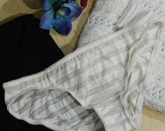 Semi-Sheer Antique Cream Lace Striped Bikini Cut Panties XS-L
