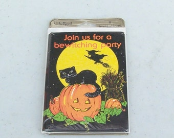 Vintage retro Halloween party invitations C. A. Reed black cat witch pumpkin JOL jack o' lantern set of eight original package