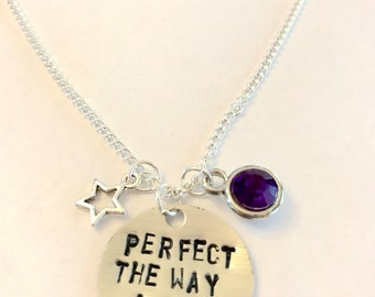 "Steven Universe Amethyst Inspired Hand-Stamped Necklace - ""Perfect the way I am"""
