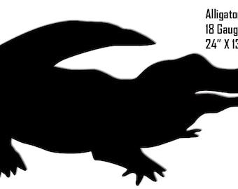 Alligator Black Laser Cut Out Sign 24x13 RG8156B