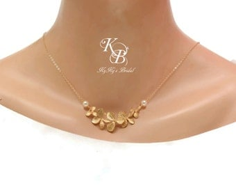 Orchid Necklace, Bridal Jewelry, 14k Gold Filled Necklace, Wedding Jewelry, Gold Necklace, Bridal Necklace, Wedding Necklace, Flower Jewelry