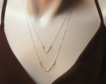 Triangle Necklace, 14k Gold Fill or 925 Sterling Silver, Chevron Necklace, Wire Crafted Triangle, Matching Necklaces, Triangle Pendant