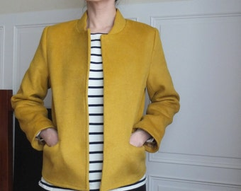 Mustard double-face cashmere wool bomber jacket