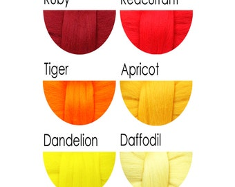 Merino Wool Tops - reds, oranges and yellows - 36 colours for felting and spinning