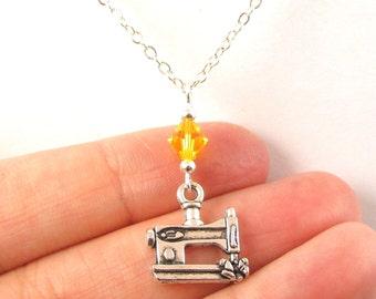 Sewing Machine Necklace- choose a birthstone, Sewing Machine Jewelry, Sewing Pendant, Seamstress Gift, Seamstress Jewelry, Love Sewing, Sew