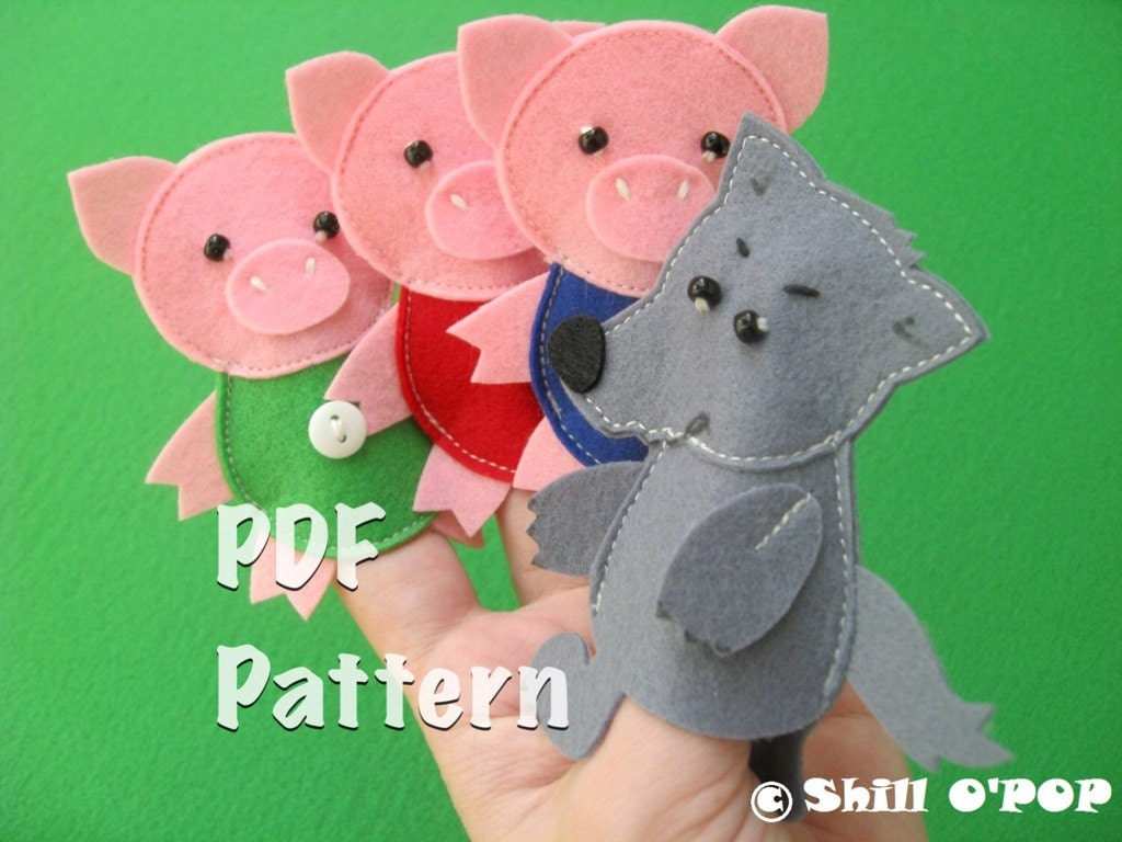 the three little pigs puppet templates - the three little pigs felt finger puppet toys pdf pattern