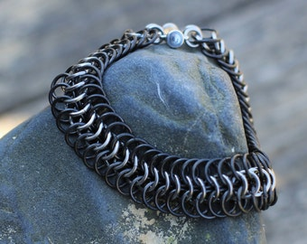 Black Stainless Steel Chainmail Bracelet: Maille Woven Wrist Cuff, Black and Silver Wrist Armor