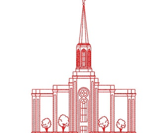St. Louis Missouri LDS Temple, Redwork Embroidery Design, digital instant download file.