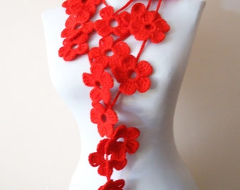 Handmade crochet lariat scarf red necklace scarf winter fashionred floral neckwarmer