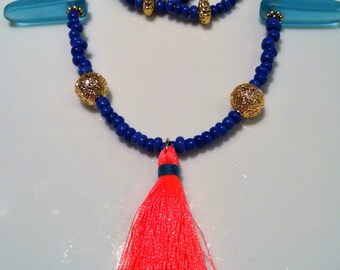 Blue and Neon Pink Tassel Jewelry Set