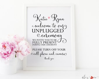 Personalized Unplugged Wedding Sign. No Cell Phone Sign. Unplugged Ceremony Sign. Personalized Wedding Sign. Wedding Printables.