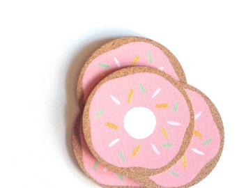 Strawberry Frosted Donut Cork Coasters | Round Coasters | Barware | Drinkware | Set of 4