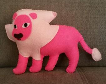 Felt handmade plush Steven's Lion  (unofficial) from Steven Universe, felt plushie,lion plush,lion stuffed toy,pink lion,gifT