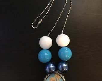 Cinderella Inspired Bottle cap Bead Chain Necklace for Girls