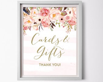 Cards and gifts Sign for Floral Bridal Shower - Boho Printable Pink and Gold Shower Favor Table Sign - Floral Cards and Gifts Sign 0001