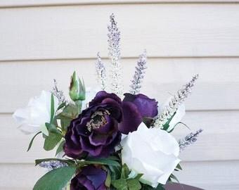 Royal Respite - Premium Silk Floral Arrangement in Wedgewood Lilac Jasperware Teacup