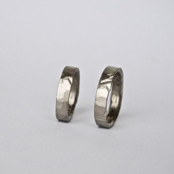 Two Hammered White Gold Rings - Wedding Ring Set - 18 Carat