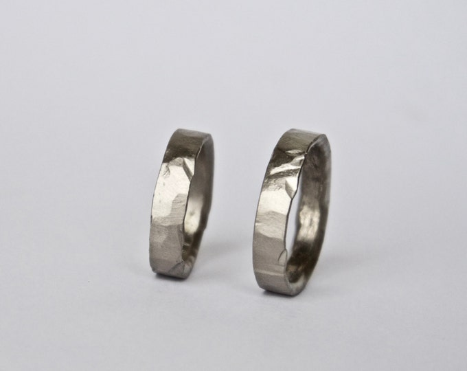 Two Hammered Organic White Gold Rings - Wedding Ring Set - Rustic Wedding Bands  - 18 Carat - Men's Women's - Couples - Unisex - Unique