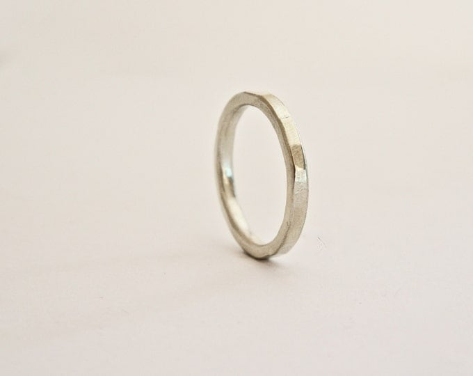 White Gold Flat Hammered Thin Ring - 9 Carat White Gold