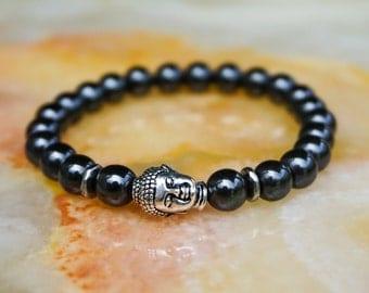 Mens Bracelet,Mens Jewelry,Beaded Bracelet,Mens Bracelet,Gift for Him,Buddha Head Bracelet,Black Bracelet,Hematite Bracelet
