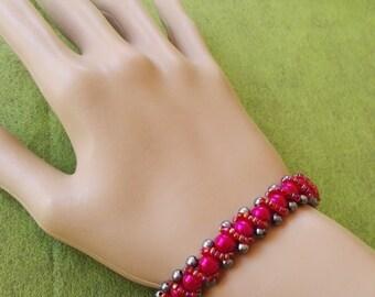 Pink  Fuchsia beadwork bracelet swarovski pearl beads